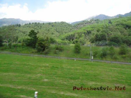 Сочная трава и леса в Альпах