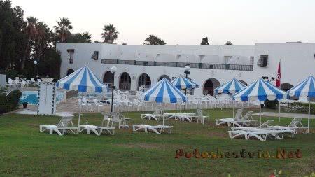 Зонтики и шезлонги вдоль бассейна отеля Эль Муради Бич